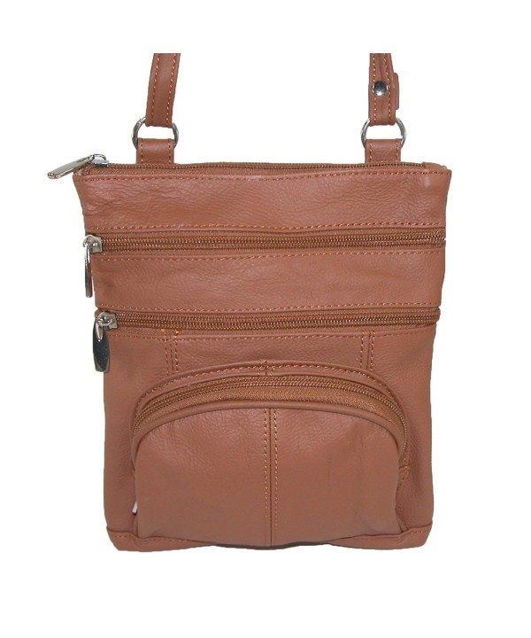 CTM Womens Pocket Leather Crossbody