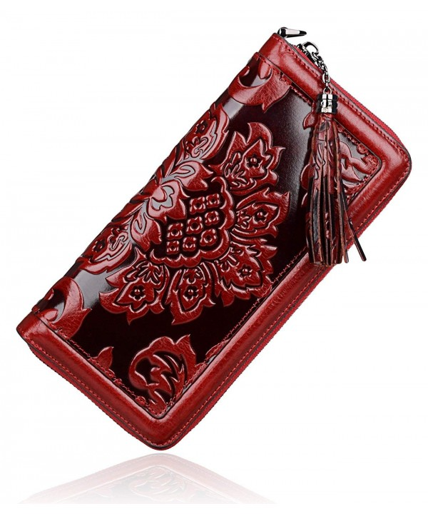 PIJUSHI Leather Wallets Wristlet Red