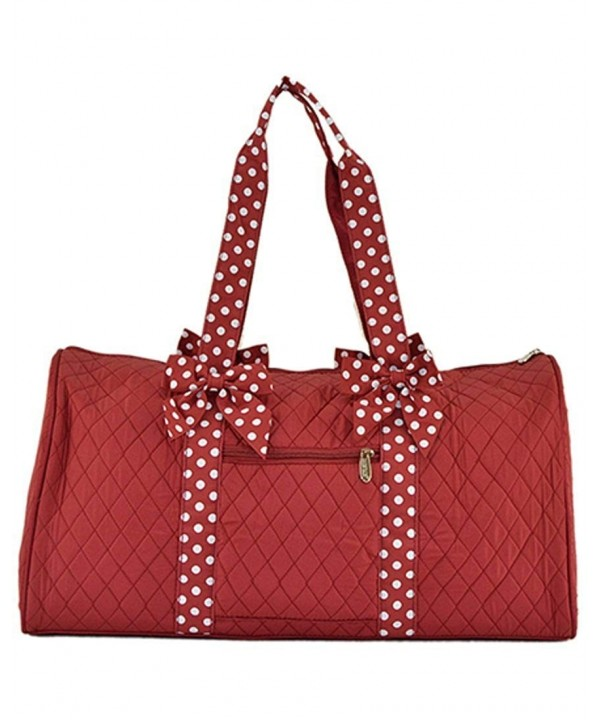 Quilted Solid Large Duffle Maroon