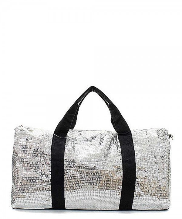 Sequin Duffel Adjustable Shoulder Silver