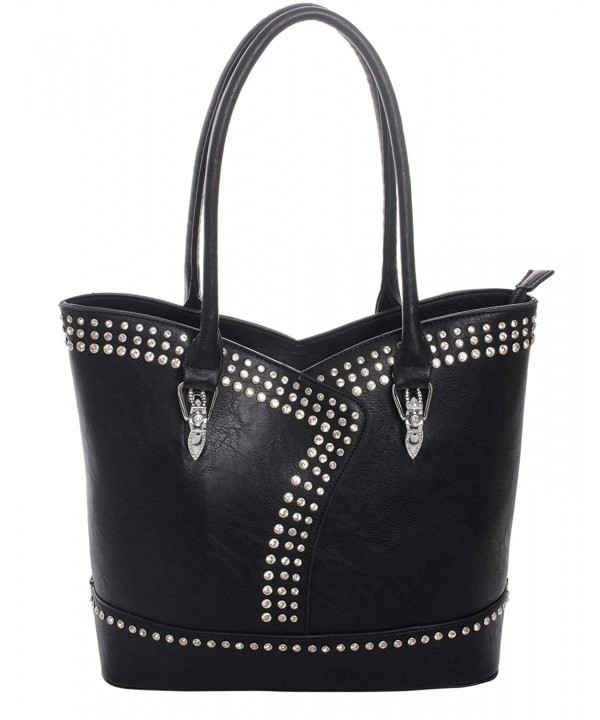 Rhinestone Leatherette Concealed Carry Handbag