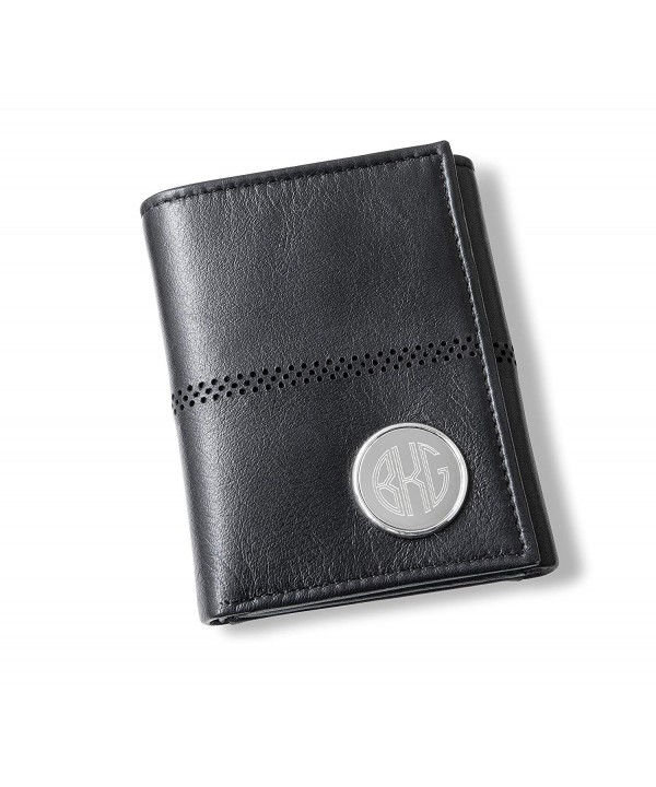 Personalized Black Leather Tri Fold Wallet