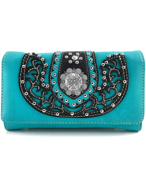 Justin West Rhinestone Attachable Turquoise