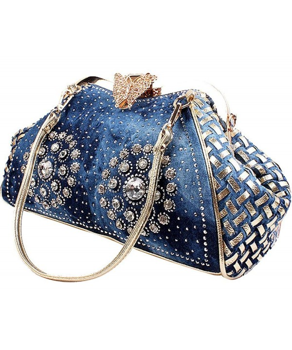 COOFIT Womens Knitted Handbags Rhinestone