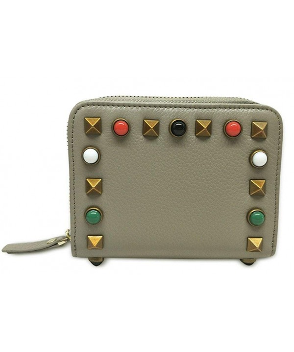 Blocking Credit Leather Compact Studded