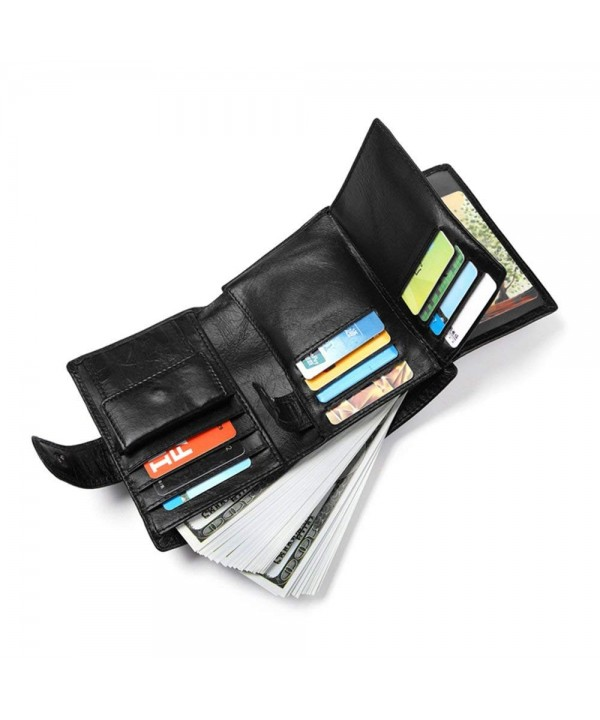 Leather Wallet Blocking Credit Tri Fold