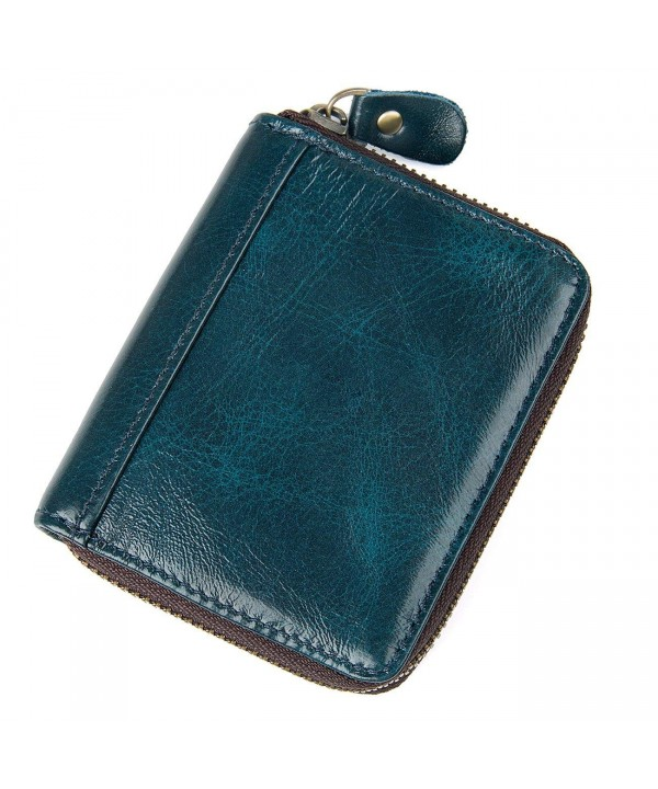 Leather Accordion Genuine Wallet Zipper
