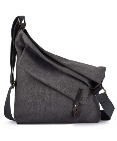 Canvas Bag for Women Crossbody Bag Messenger Bag Shoulder Bag Hobo Bag Unisex - Gray(thick Shoulder Strap) - CE18HGMOWUR