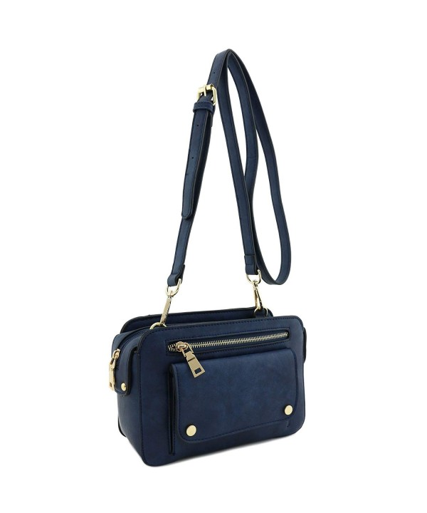 Faux Leather Square Crossbody Blue