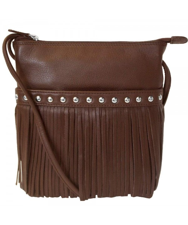 Cowhide Leather Fringe Cross body Handbag