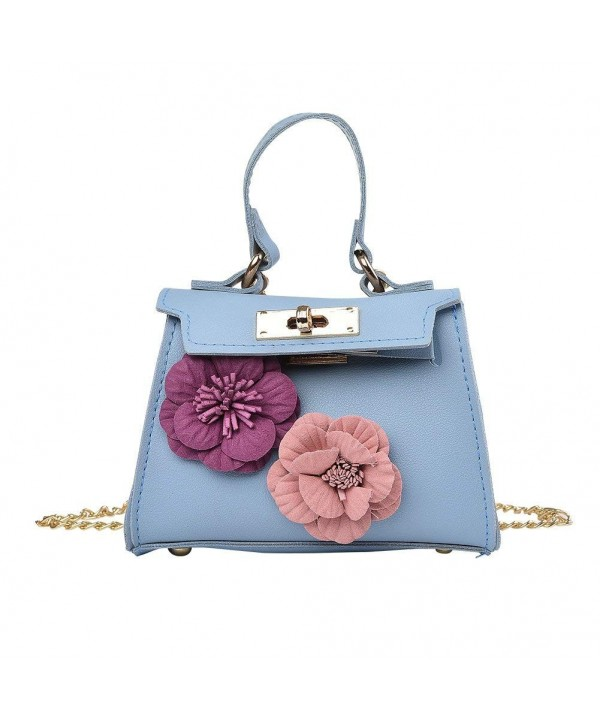 Cute Animal Face small size little girl crossbody shoulder bag Pu Faux Leather travel Bag for Kids Teens Collection flower blue