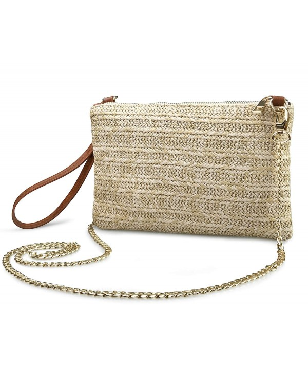 Straw Zipper Wristlet Clutch Womens