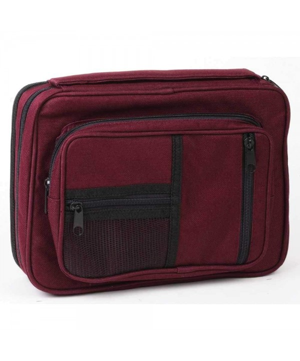 Burgundy Zipper Pocket Reinforced Canvas