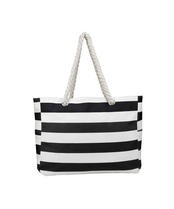 Large Waterproof Beach Bag Side Pockets Inner Zipper Purse Top Magnet Clasp Black Strips C118gllhusx