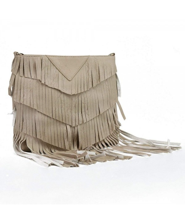 Apricot Fringe Leather Crossbody Shoulder