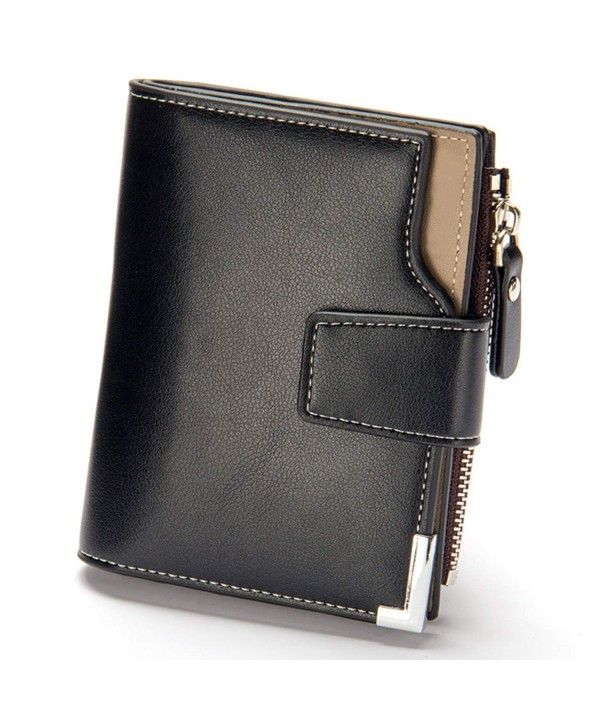 Wallet Bifold Business Leather Men Black