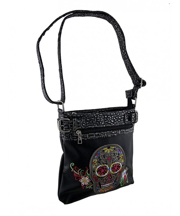 Womens Embroidered Floral Concealed Crossbody