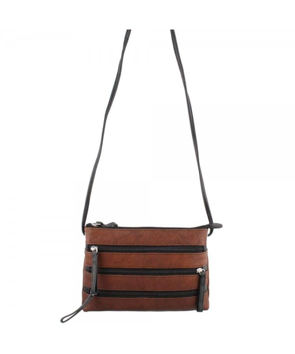 Leather Zipper Cross body Handbag Toffee