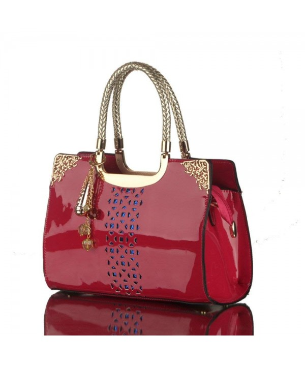 Hollow Patent Leather Handle Handbags