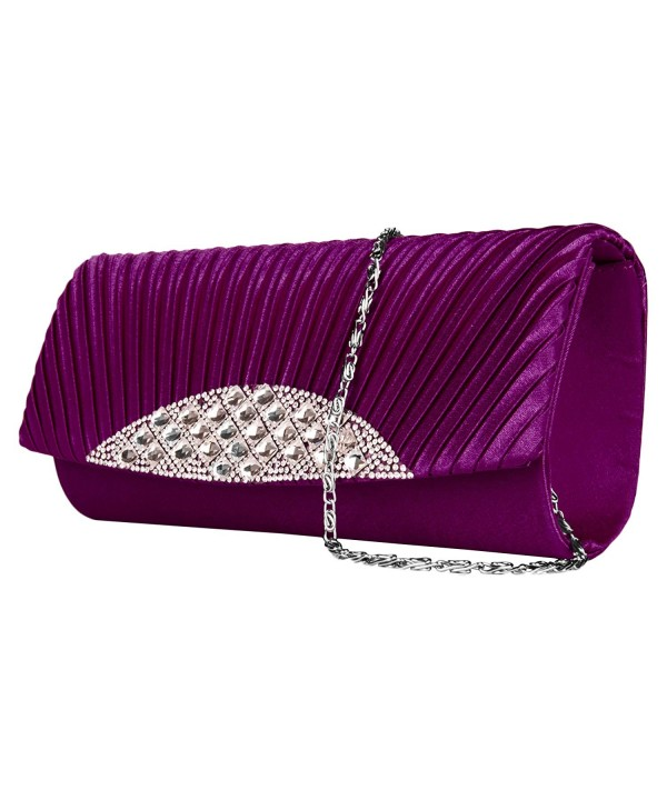 Womens Clutch Rhinestone Embellishment Removable