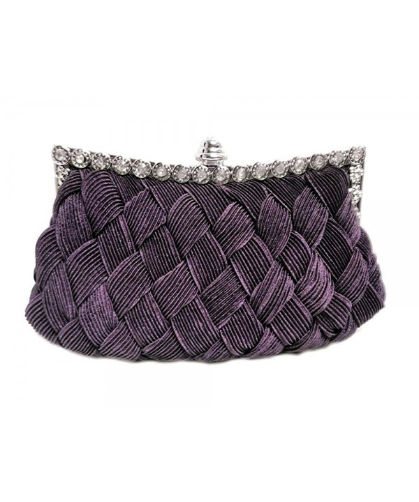 Party Ruched Clutch 7 inch Purple