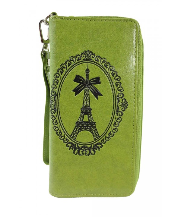 French Eiffel Embossed Around Wristlet