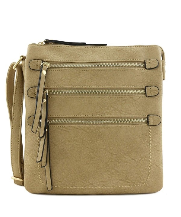 Double Compartment Triple Zippers Crossbody