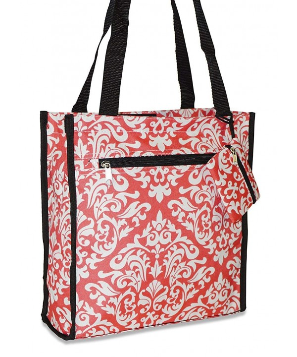 Ever Moda Damask Tote Coral
