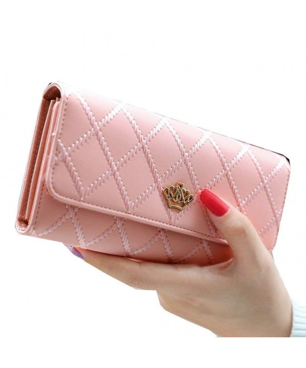 Women Leather Wallet Thread Clutch