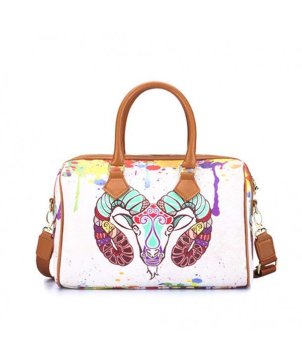 Handle Shoulder Buckets Printed Satchel