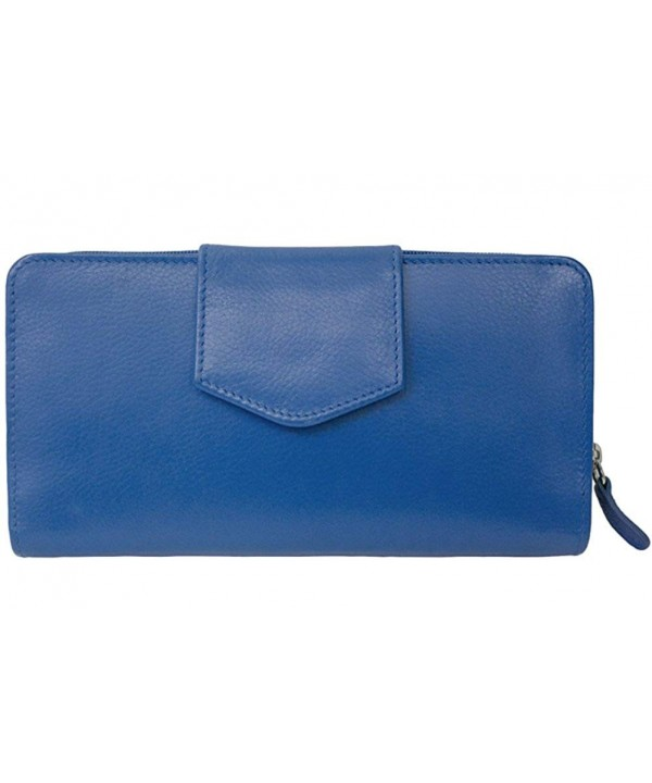 7410 Cobalt Leather Checkbook Wallet