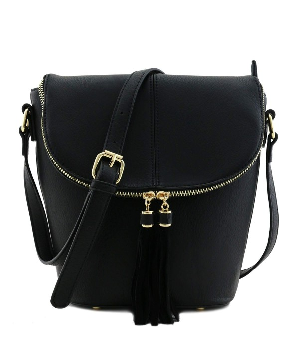 Bucket Crossbody Tassel Accent Black