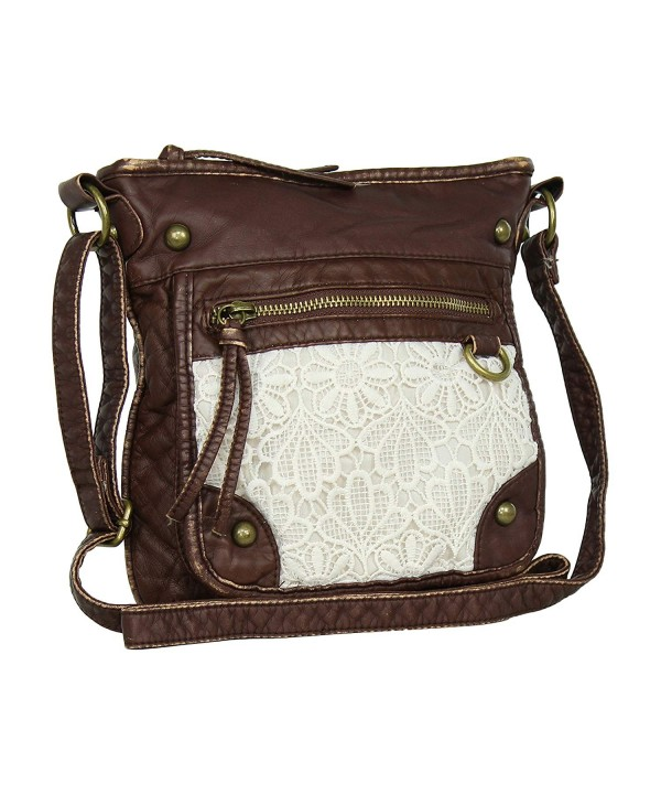 Brown Large Leather Crossbody Purse x