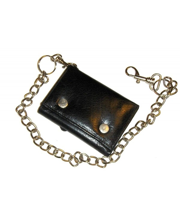 Leather Trifold Biker Wallet Chain