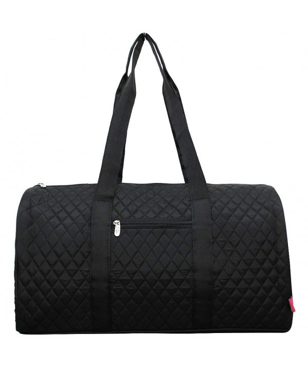 Solid Black Color Quilted Duffle