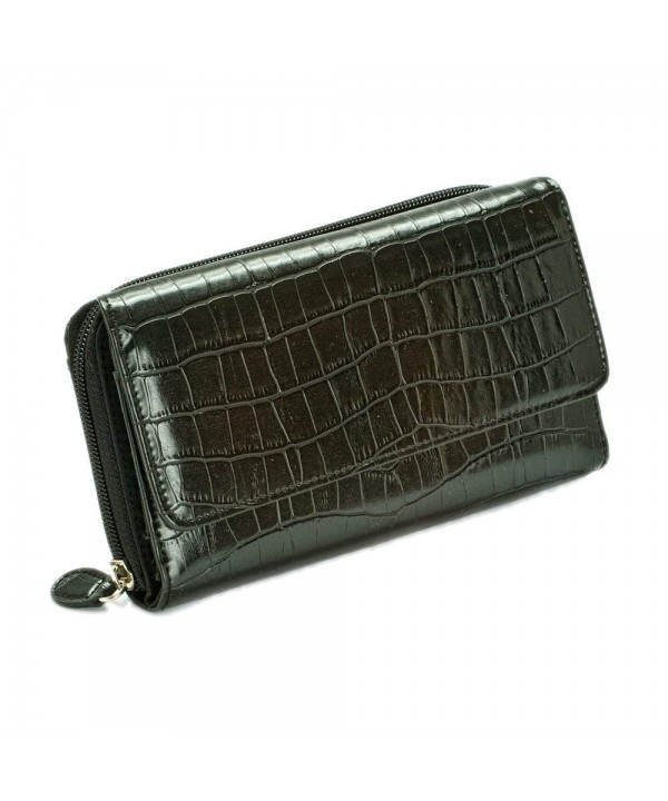 Mundi Wallet Croco Embossed Black