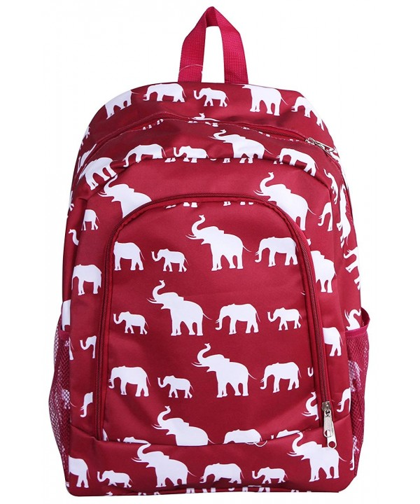 Backpack Burgundy elephant Pattern Design