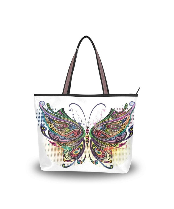 Handle Shoulder Butterfly Flower Handbag