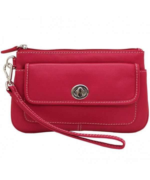 Leather Turn Lock Wristlet Clutch