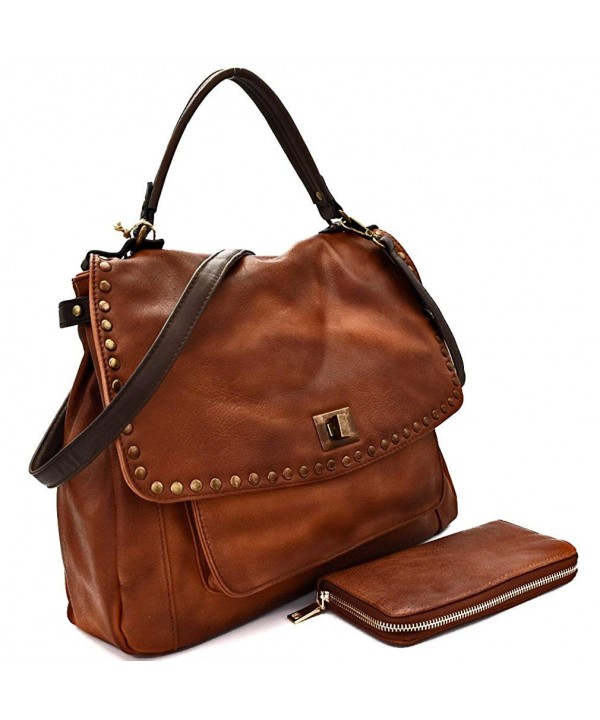 Miel Studded Handle Saddle Crossbody