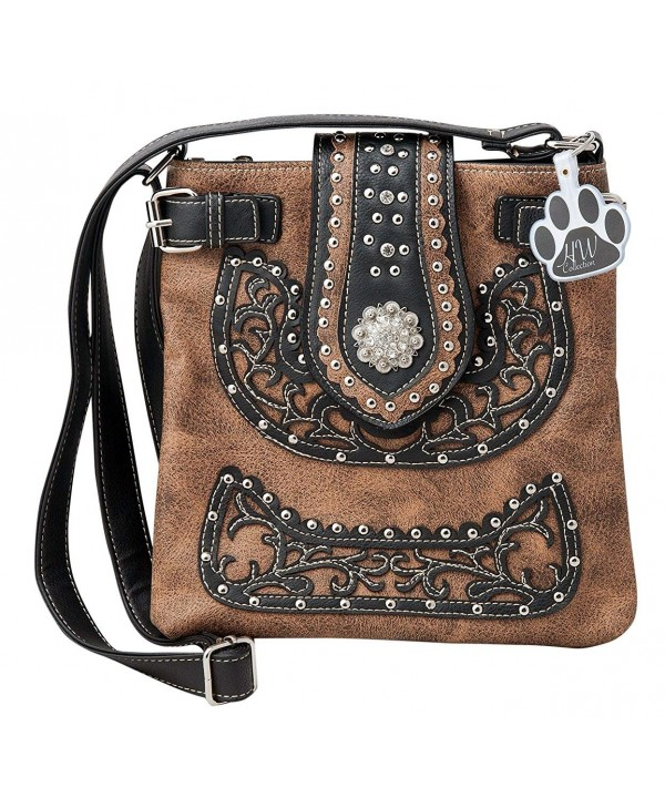 Western Rhinestone Buckle Small Pouch Zipper Wallet Purse for Women Crossbody