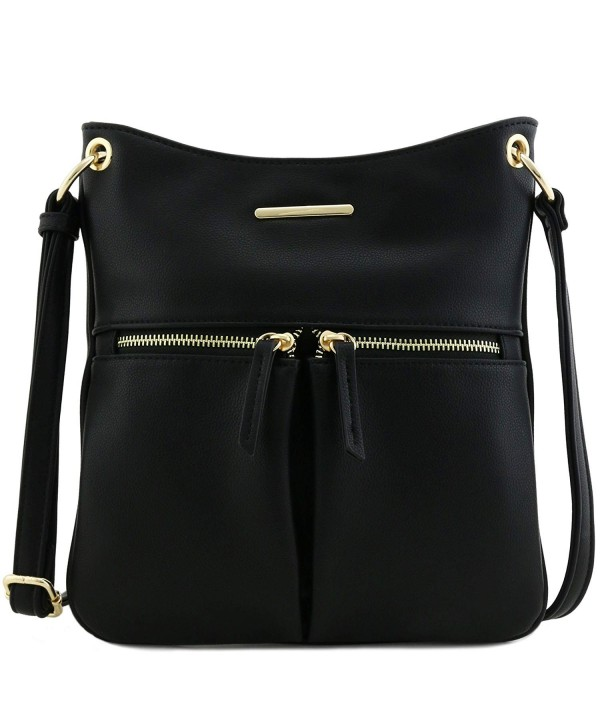 Twin Pocket Flat Crossbody Black