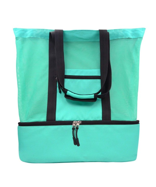 861fa9d270d1 Mesh Beach Tote Bag- 2 in 1 Outdoor Travel Bag with Zipper Top and  Insulated Picnic Cooler- Green 40L - CQ18347KUUU