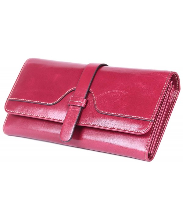 Borgasets Womens Waxing Leather Tri fold