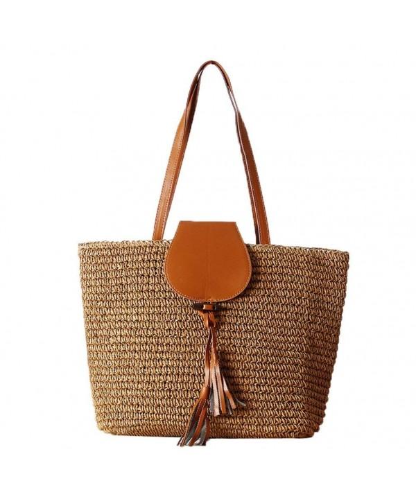 Women Straw Rattan Tote Bag Summer Beach Shoulder Bags Handbag ... b3876a7b19ff3