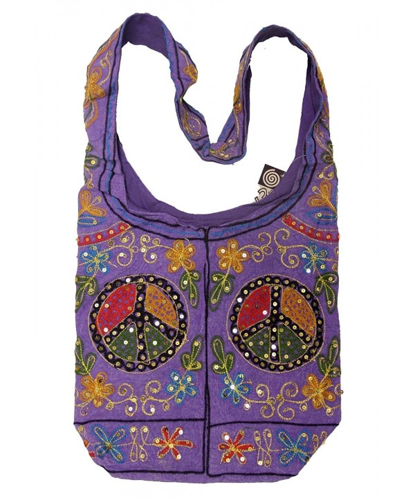 Purple Cotton Embroidery Bohemian Crossbody
