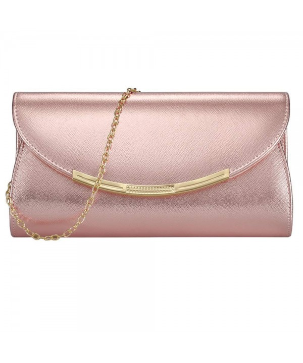 b57c32a93863 Womens Evening Clutch Bridal Prom Handbag shoulder bag Party Bag Wedding  Purse with Detachable Chain - Rose Gold - CO18I7IAH9H