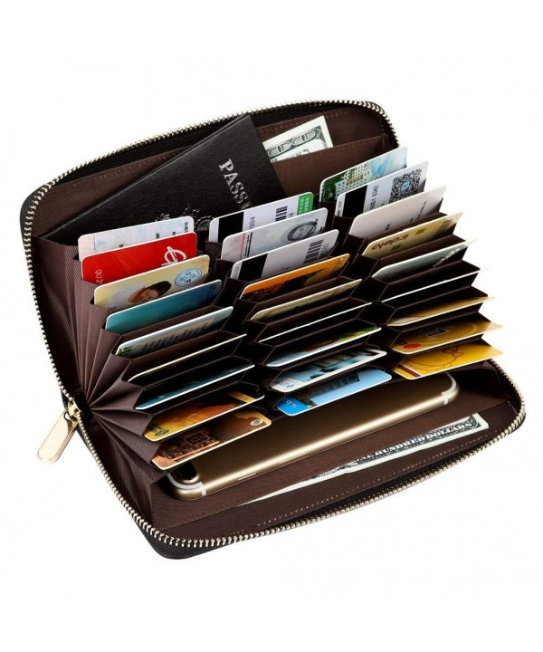 Blocking Leather Holder Organizer Long Black 27