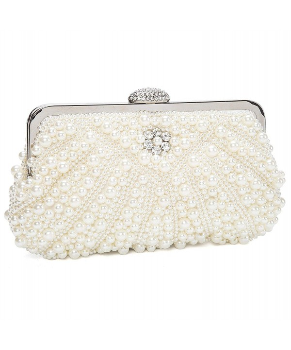 Womens Handmade Pearl Bead Rhinestone Evening Clutch Bags For ...