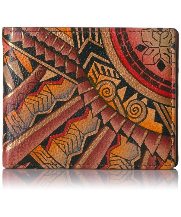 Anuschka Handpainted Leather Wallet Tribal